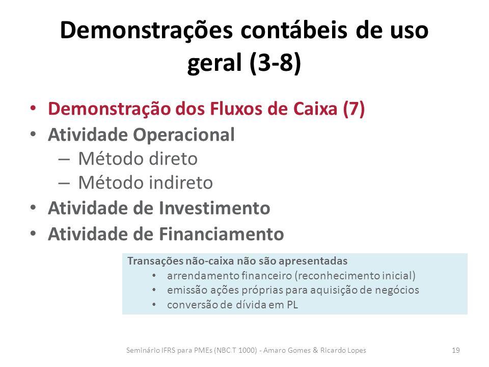 Demonstrações contábeis de uso geral (3-8) Demonstração dos Fluxos de Caixa (7) Atividade Operacional – Método direto – Método indireto Atividade de I
