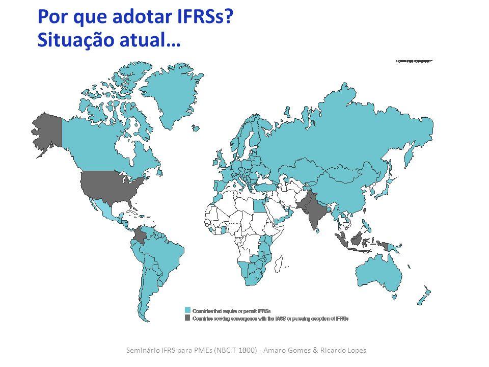 3 3 Por que adotar IFRSs? Situação atual… Seminário IFRS para PMEs (NBC T 1000) - Amaro Gomes & Ricardo Lopes
