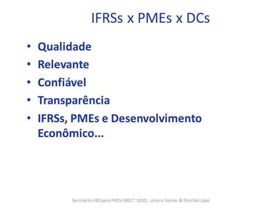 5 IFRSs, PMEs e Desenvolvimento Econômico 1.PMEs são cruciais para desenvolvimento econômico 2.IFRS para PMEs resulta em: 1.Informação de melhor qualidade 2.Desenvolvida considerando características e limitações das PMEs 3.Estruturada para uso de provedores de capital e credores 4.Uso em diversos países e reduz custo de capital 3.Provedores de capital (credito e capitalização): reduz custo de avaliação e prêmio de risco 4.Contadores: parceiros dos gestores, com possibilidade única de aprimoramento da profissão Seminário IFRS para PMEs (NBC T 1000) - Amaro Gomes & Ricardo Lopes