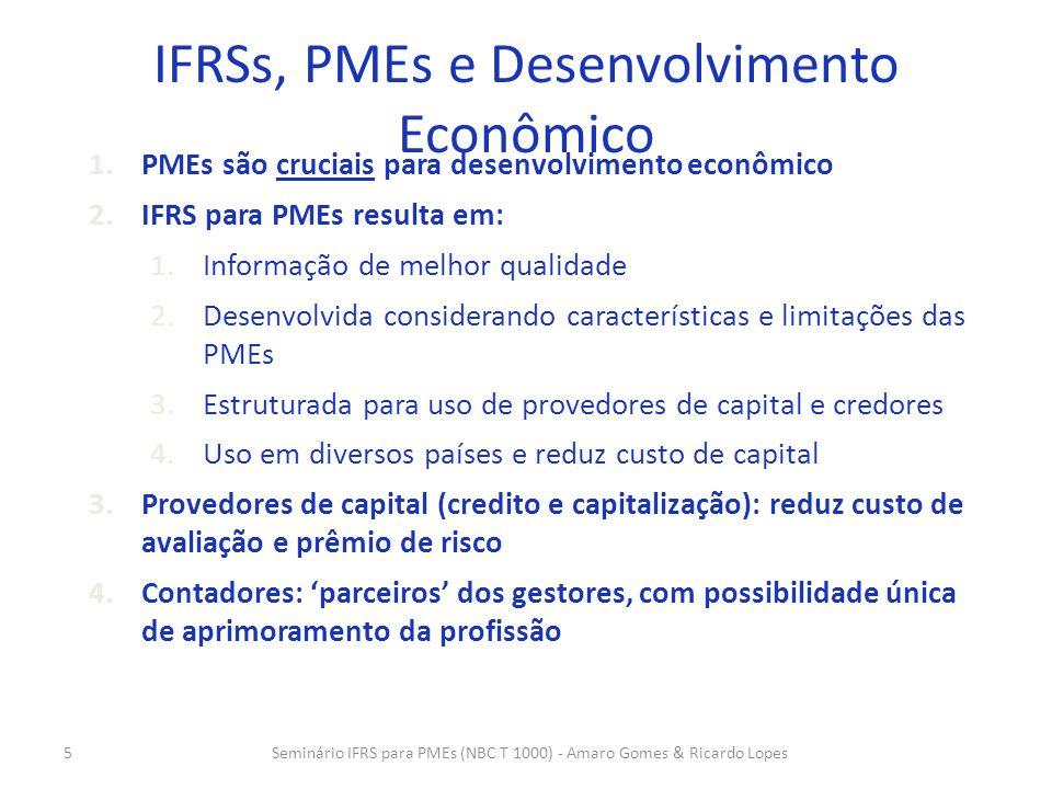 5 IFRSs, PMEs e Desenvolvimento Econômico 1.PMEs são cruciais para desenvolvimento econômico 2.IFRS para PMEs resulta em: 1.Informação de melhor quali