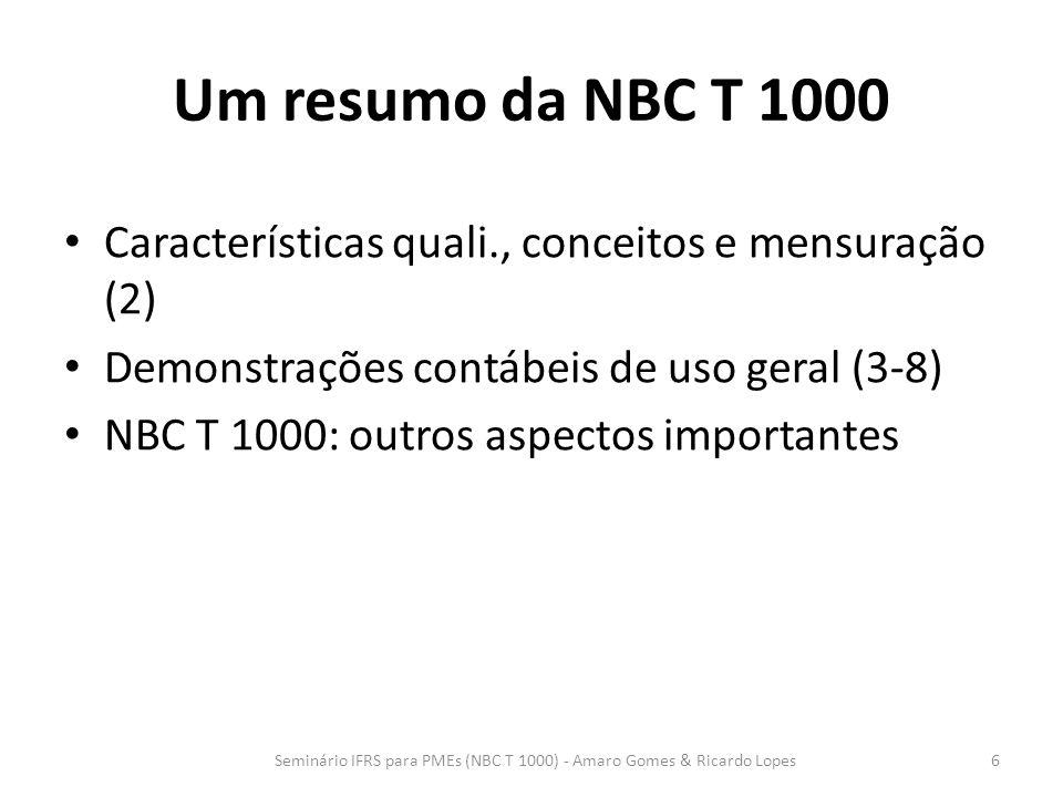 Um resumo da NBC T 1000 Características quali., conceitos e mensuração (2) Demonstrações contábeis de uso geral (3-8) NBC T 1000: outros aspectos impo