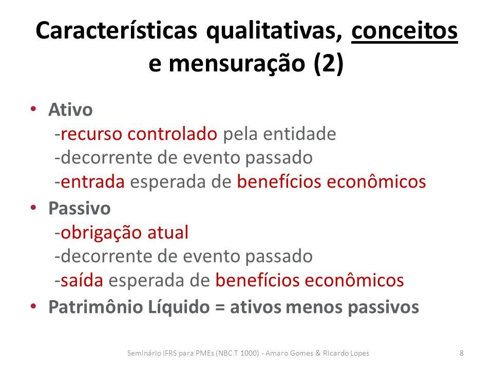 Características qualitativas, conceitos e mensuração (2) Receitas -aprimoramentos/aumentos em ativos e diminuições em passivos -que resultam em aumentos de patrimônio líquido -diferentes de aportes de proprietários Despesas -reduções/saídas de ativos e aumento de passivos -que resultam em diminuições de patrimônio líquido -diferentes de distribuições aos proprietários Resultado = receitas menos despesas Seminário IFRS para PMEs (NBC T 1000) - Amaro Gomes & Ricardo Lopes9