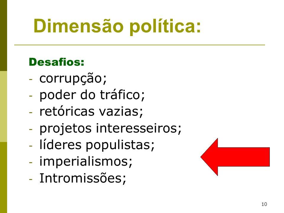 10 Desafios: - corrupção; - poder do tráfico; - retóricas vazias; - projetos interesseiros; - líderes populistas; - imperialismos; - Intromissões; Dim