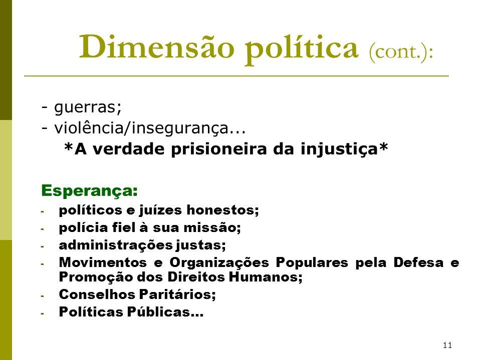 11 Dimensão política (cont.): - guerras; - violência/insegurança... *A verdade prisioneira da injustiça* Esperança: - políticos e juízes honestos; - p