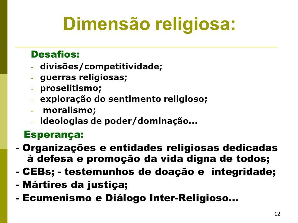 12 Desafios: - divisões/competitividade; - guerras religiosas; - proselitismo; - exploração do sentimento religioso; - moralismo; - ideologias de pode