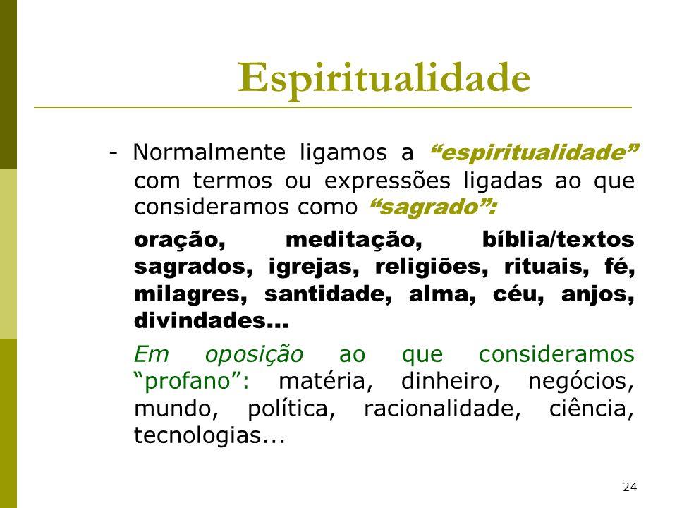 24 Espiritualidade - Normalmente ligamos a espiritualidade com termos ou expressões ligadas ao que consideramos como sagrado: oração, meditação, bíbli