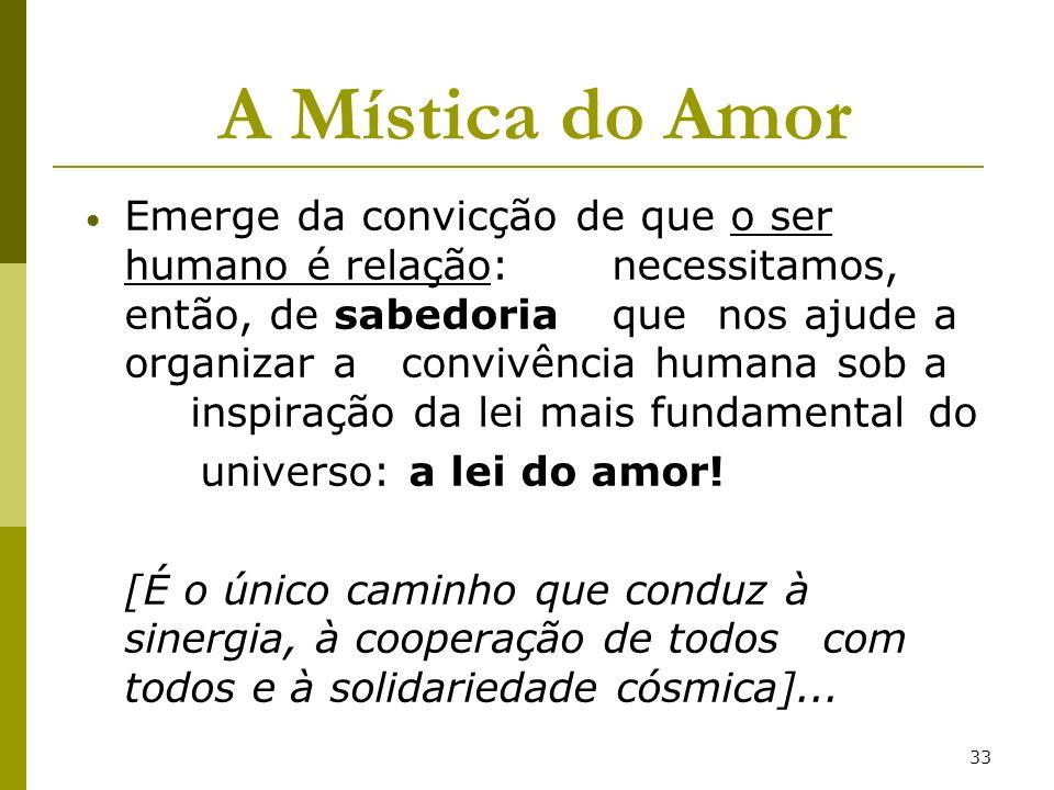 33 A Mística do Amor Emerge da convicção de que o ser humano é relação: necessitamos, então, de sabedoria que nos ajude a organizar a convivência huma