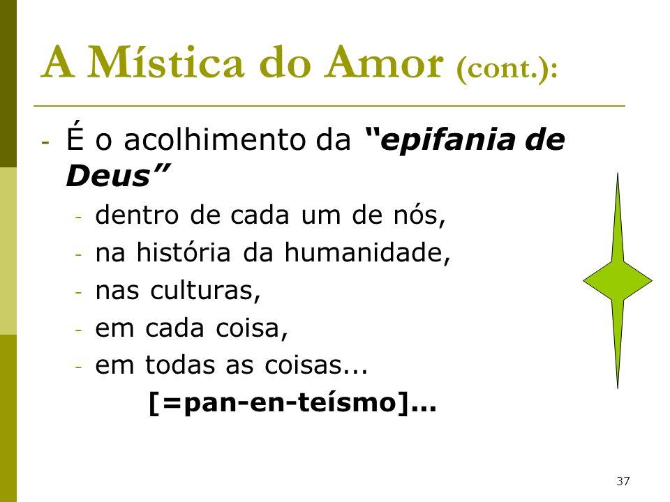 37 A Mística do Amor (cont.): - É o acolhimento da epifania de Deus - dentro de cada um de nós, - na história da humanidade, - nas culturas, - em cada