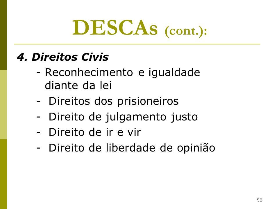 50 DESCAs (cont.): 4. Direitos Civis - Reconhecimento e igualdade diante da lei - Direitos dos prisioneiros - Direito de julgamento justo - Direito de