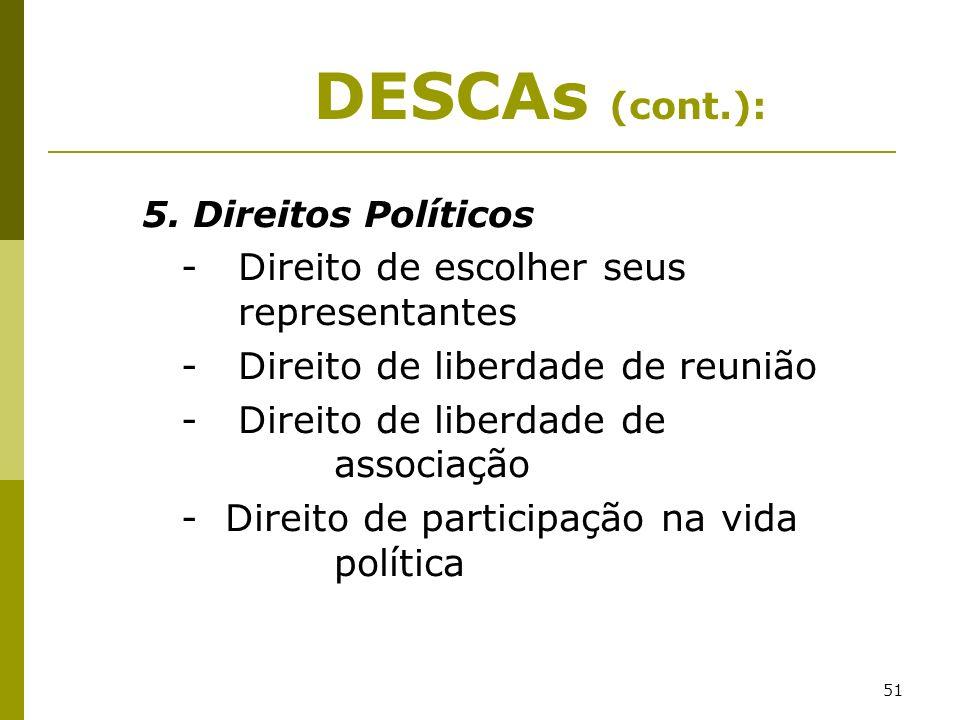 51 5. Direitos Políticos - Direito de escolher seus representantes - Direito de liberdade de reunião - Direito de liberdade de associação - Direito de