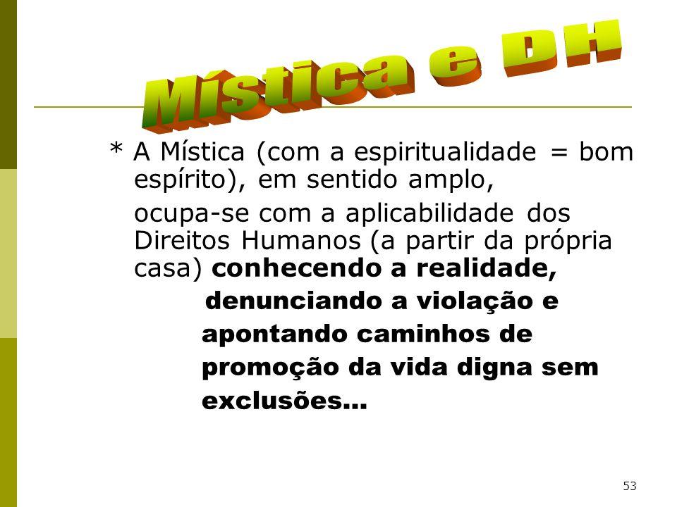 53 * A Mística (com a espiritualidade = bom espírito), em sentido amplo, ocupa-se com a aplicabilidade dos Direitos Humanos (a partir da própria casa)