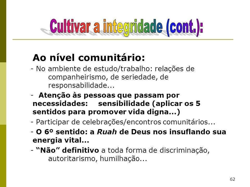 62 Ao nível comunitário: - No ambiente de estudo/trabalho: relações de companheirismo, de seriedade, de responsabilidade... - Atenção às pessoas que p