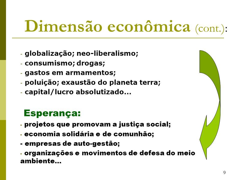 9 Dimensão econômica (cont.): - globalização; neo-liberalismo; - consumismo; drogas; - gastos em armamentos; - poluição; exaustão do planeta terra; -