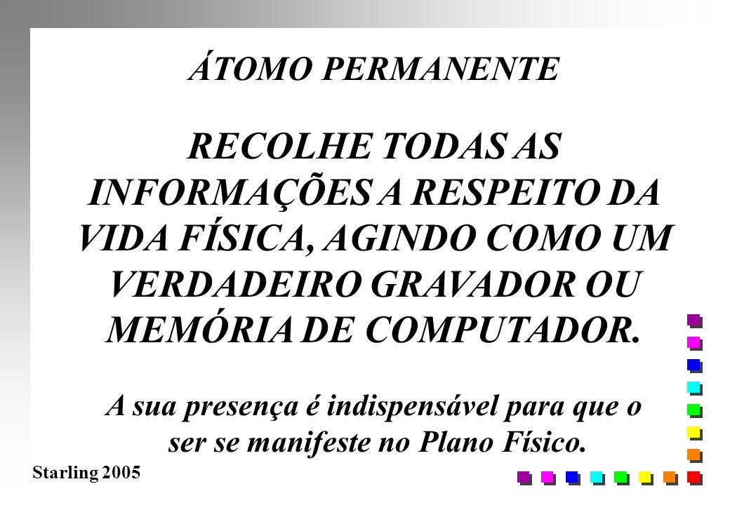 Starling 2005 ÁTOMO PERMANENTE RECOLHE TODAS AS INFORMAÇÕES A RESPEITO DA VIDA FÍSICA, AGINDO COMO UM VERDADEIRO GRAVADOR OU MEMÓRIA DE COMPUTADOR. A