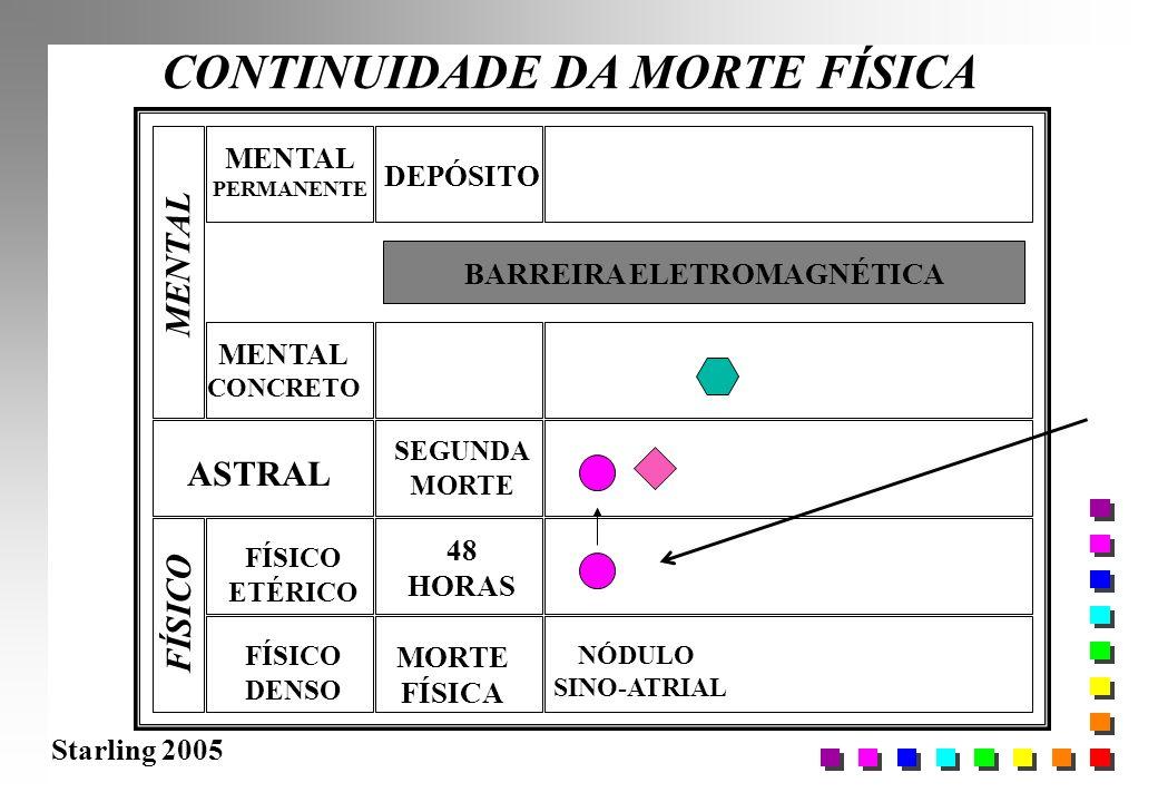 Starling 2005 CONTINUIDADE DA MORTE FÍSICA FÍSICO DENSO FÍSICO ETÉRICO ASTRAL MENTAL CONCRETO MORTE FÍSICA 48 HORAS BARREIRA ELETROMAGNÉTICA NÓDULO SI