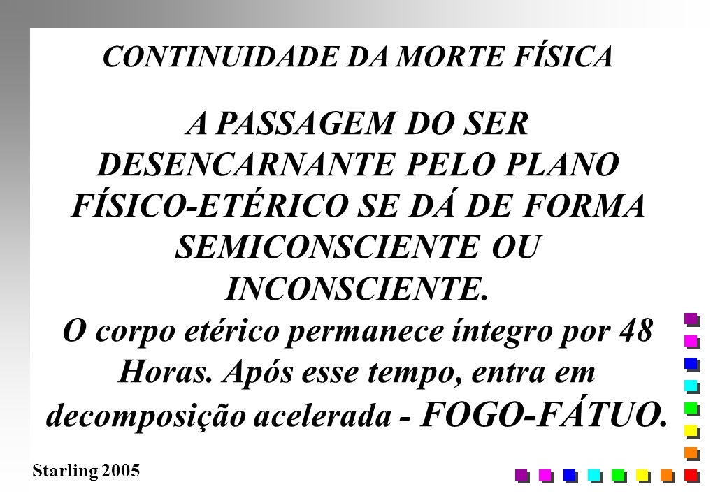 Starling 2005 CONTINUIDADE DA MORTE FÍSICA A PASSAGEM DO SER DESENCARNANTE PELO PLANO FÍSICO-ETÉRICO SE DÁ DE FORMA SEMICONSCIENTE OU INCONSCIENTE. O