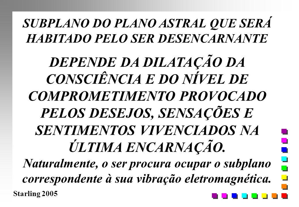 Starling 2005 SUBPLANO DO PLANO ASTRAL QUE SERÁ HABITADO PELO SER DESENCARNANTE DEPENDE DA DILATAÇÃO DA CONSCIÊNCIA E DO NÍVEL DE COMPROMETIMENTO PROV