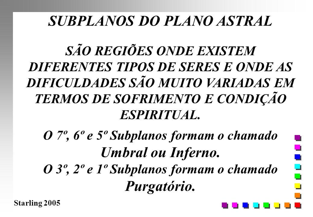 Starling 2005 SUBPLANOS DO PLANO ASTRAL SÃO REGIÕES ONDE EXISTEM DIFERENTES TIPOS DE SERES E ONDE AS DIFICULDADES SÃO MUITO VARIADAS EM TERMOS DE SOFR