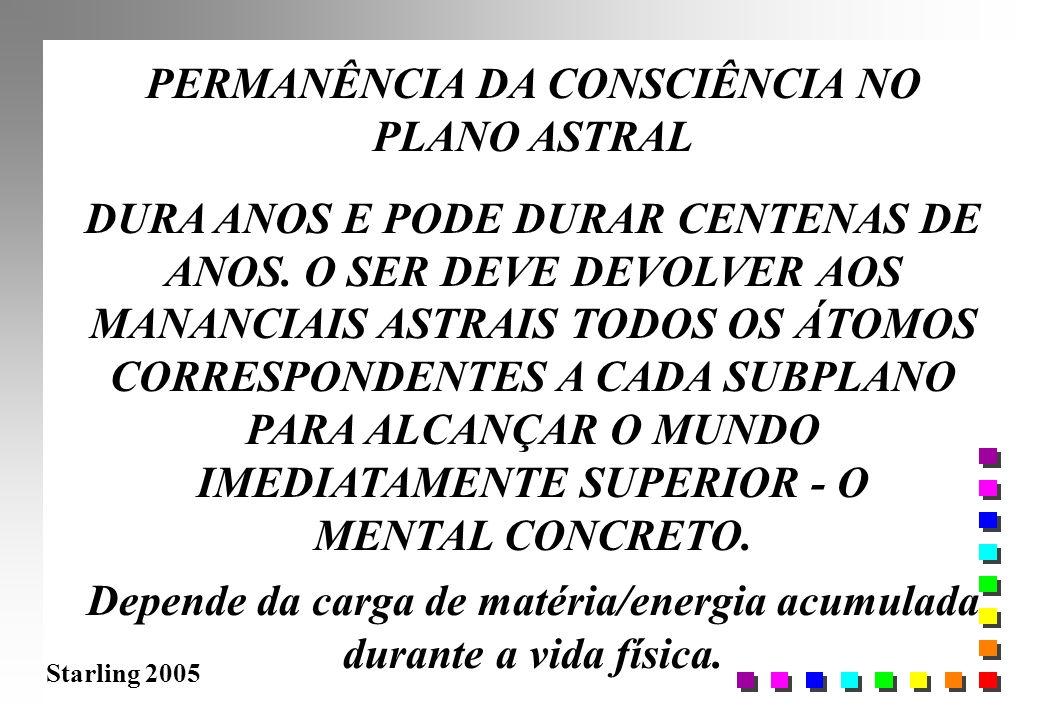 Starling 2005 PERMANÊNCIA DA CONSCIÊNCIA NO PLANO ASTRAL DURA ANOS E PODE DURAR CENTENAS DE ANOS. O SER DEVE DEVOLVER AOS MANANCIAIS ASTRAIS TODOS OS