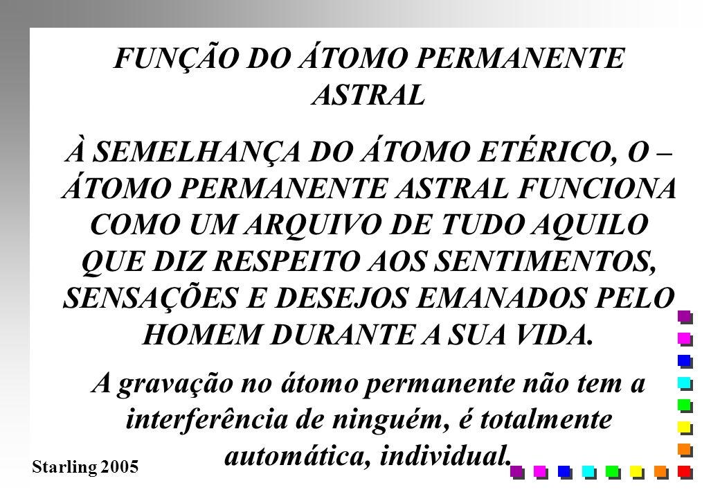 Starling 2005 FUNÇÃO DO ÁTOMO PERMANENTE ASTRAL À SEMELHANÇA DO ÁTOMO ETÉRICO, O – ÁTOMO PERMANENTE ASTRAL FUNCIONA COMO UM ARQUIVO DE TUDO AQUILO QUE