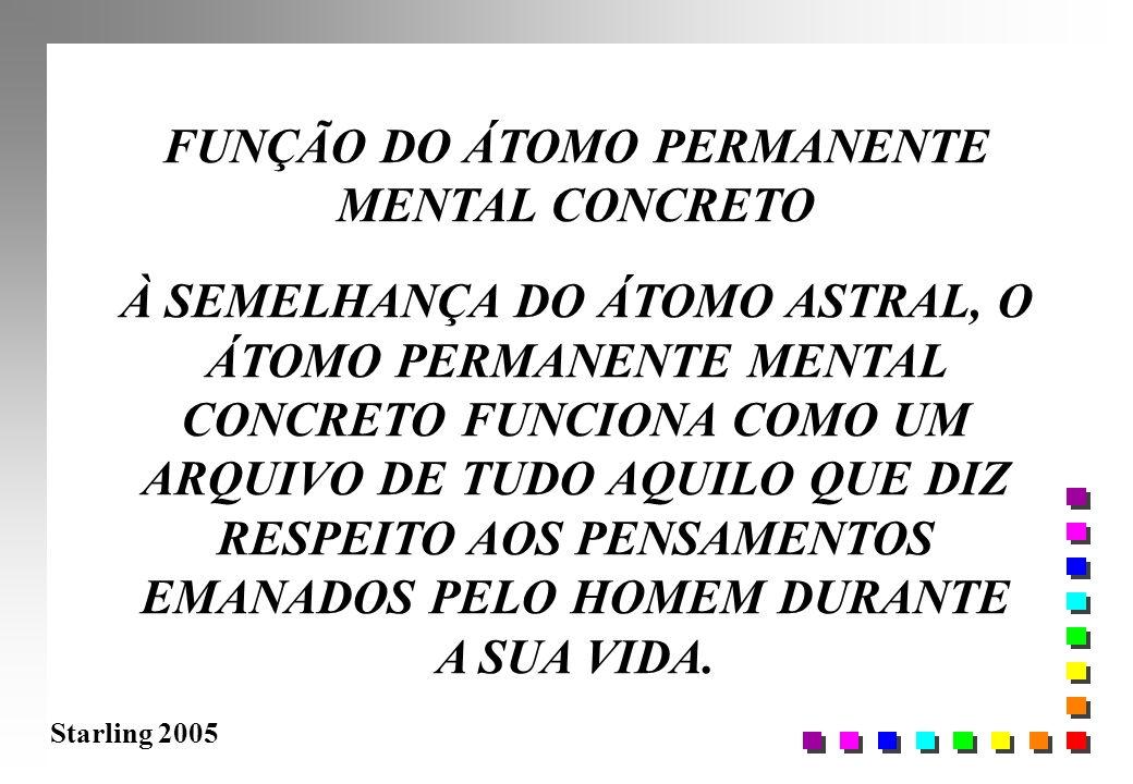 Starling 2005 FUNÇÃO DO ÁTOMO PERMANENTE MENTAL CONCRETO À SEMELHANÇA DO ÁTOMO ASTRAL, O ÁTOMO PERMANENTE MENTAL CONCRETO FUNCIONA COMO UM ARQUIVO DE