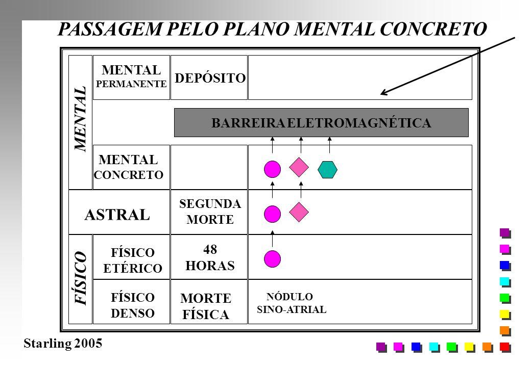 Starling 2005 PASSAGEM PELO PLANO MENTAL CONCRETO FÍSICO DENSO FÍSICO ETÉRICO ASTRAL MENTAL CONCRETO MORTE FÍSICA 48 HORAS BARREIRA ELETROMAGNÉTICA NÓ