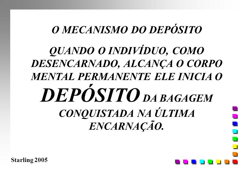 Starling 2005 O MECANISMO DO DEPÓSITO QUANDO O INDIVÍDUO, COMO DESENCARNADO, ALCANÇA O CORPO MENTAL PERMANENTE ELE INICIA O DEPÓSITO DA BAGAGEM CONQUI
