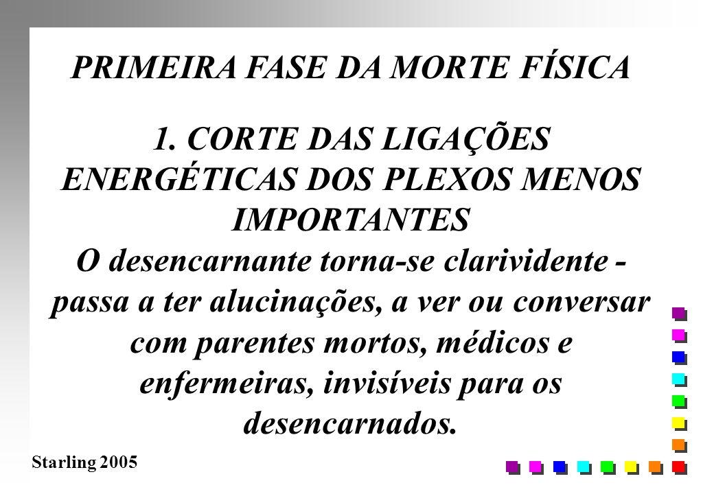 Starling 2005 PRIMEIRA FASE DA MORTE FÍSICA 1. CORTE DAS LIGAÇÕES ENERGÉTICAS DOS PLEXOS MENOS IMPORTANTES O desencarnante torna-se clarividente - pas