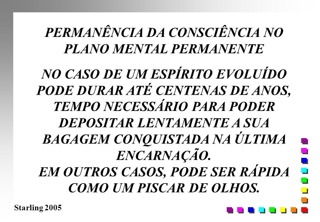 Starling 2005 PERMANÊNCIA DA CONSCIÊNCIA NO PLANO MENTAL PERMANENTE NO CASO DE UM ESPÍRITO EVOLUÍDO PODE DURAR ATÉ CENTENAS DE ANOS, TEMPO NECESSÁRIO