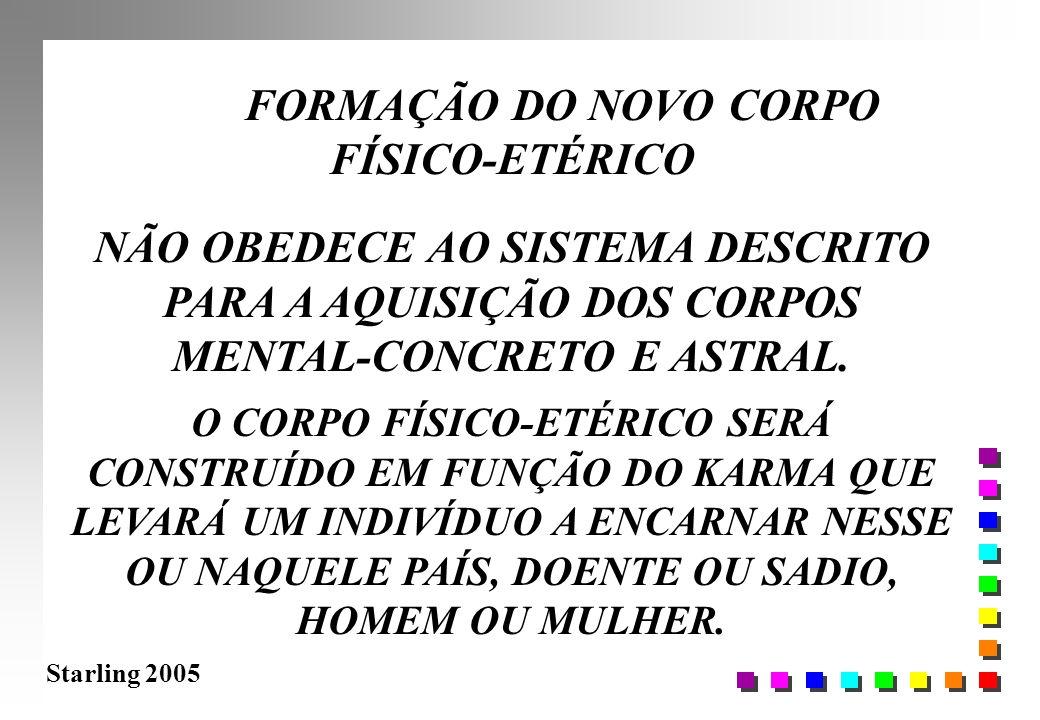 Starling 2005 FORMAÇÃO DO NOVO CORPO FÍSICO-ETÉRICO NÃO OBEDECE AO SISTEMA DESCRITO PARA A AQUISIÇÃO DOS CORPOS MENTAL-CONCRETO E ASTRAL. O CORPO FÍSI