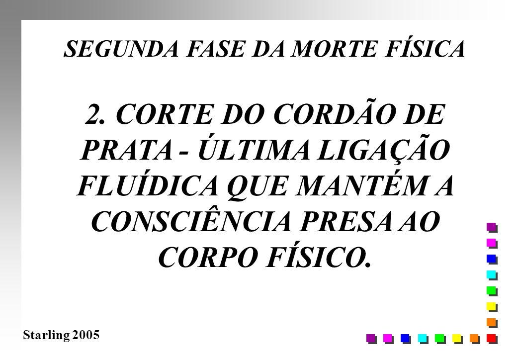 Starling 2005 SEGUNDA FASE DA MORTE FÍSICA 2. CORTE DO CORDÃO DE PRATA - ÚLTIMA LIGAÇÃO FLUÍDICA QUE MANTÉM A CONSCIÊNCIA PRESA AO CORPO FÍSICO.