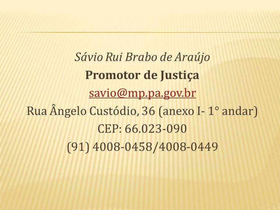 Sávio Rui Brabo de Araújo Promotor de Justiça savio@mp.pa.gov.br Rua Ângelo Custódio, 36 (anexo I- 1° andar) CEP: 66.023-090 (91) 4008-0458/4008-0449