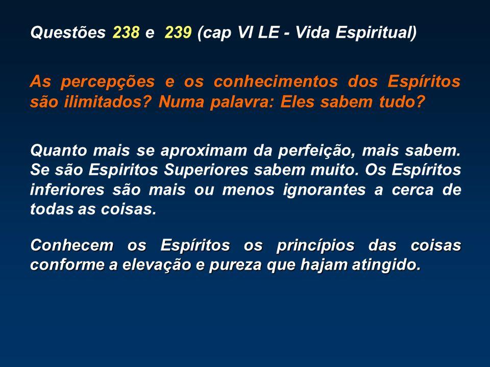 Questões 238 e 239 (cap VI LE - Vida Espiritual) As percepções e os conhecimentos dos Espíritos são ilimitados? Numa palavra: Eles sabem tudo? Quanto