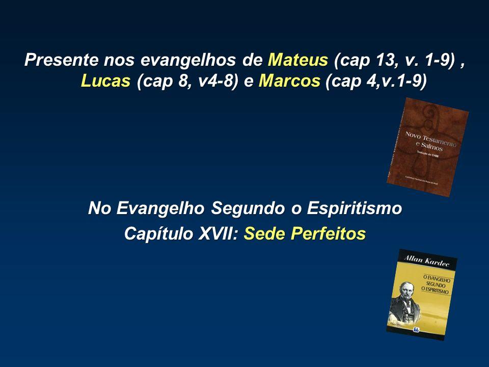Presente nos evangelhos de Mateus (cap 13, v. 1-9), Lucas (cap 8, v4-8) e Marcos (cap 4,v.1-9) No Evangelho Segundo o Espiritismo Capítulo XVII: Sede