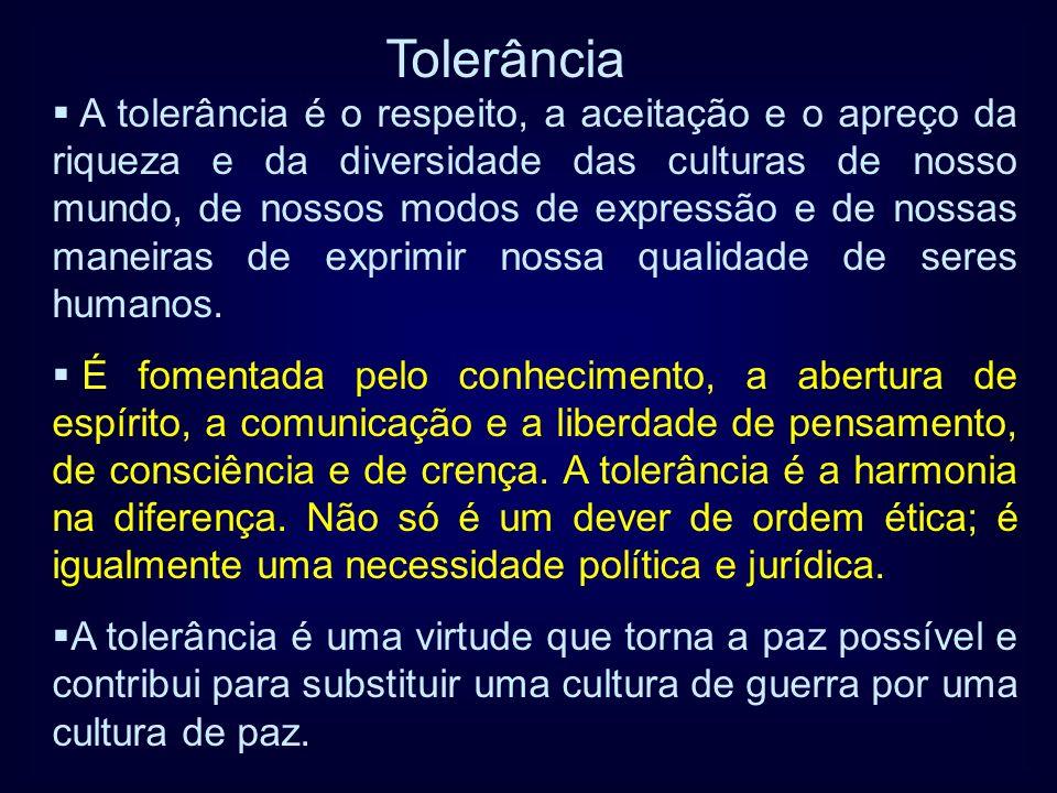 A tolerância é o respeito, a aceitação e o apreço da riqueza e da diversidade das culturas de nosso mundo, de nossos modos de expressão e de nossas ma