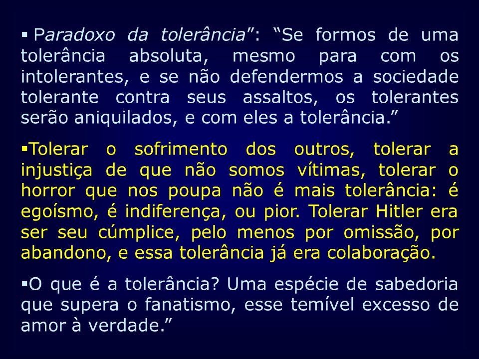 P aradoxo da tolerância: Se formos de uma tolerância absoluta, mesmo para com os intolerantes, e se não defendermos a sociedade tolerante contra seus