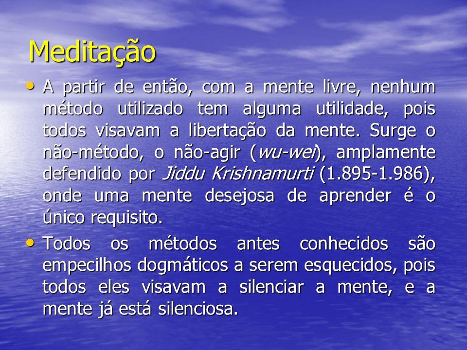 Meditação A partir de então, com a mente livre, nenhum método utilizado tem alguma utilidade, pois todos visavam a libertação da mente. Surge o não-mé