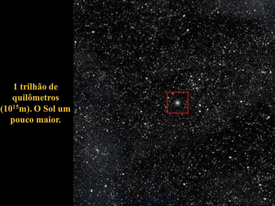 1 trilhão de quilômetros (10 15 m). O Sol um pouco maior.