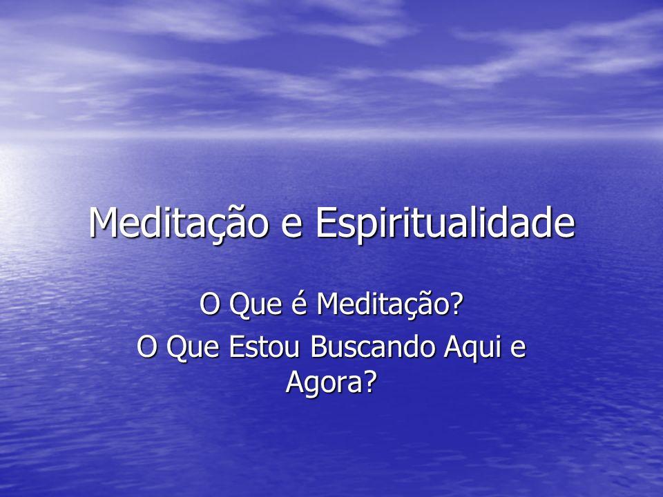 Meditação e Espiritualidade O Que é Meditação? O Que Estou Buscando Aqui e Agora?
