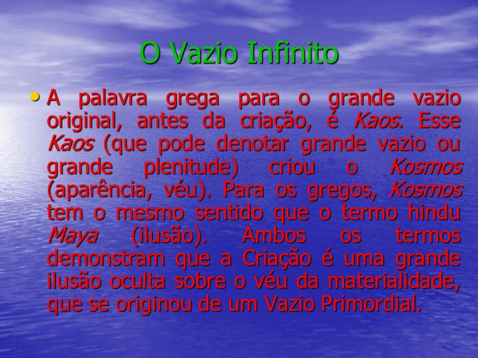 O Vazio Infinito A palavra grega para o grande vazio original, antes da criação, é Kaos. Esse Kaos (que pode denotar grande vazio ou grande plenitude)