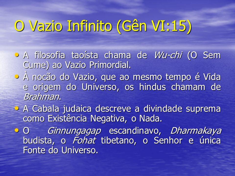 O Vazio Infinito (Gên VI:15) A filosofia taoísta chama de Wu-chi (O Sem Cume) ao Vazio Primordial. A filosofia taoísta chama de Wu-chi (O Sem Cume) ao