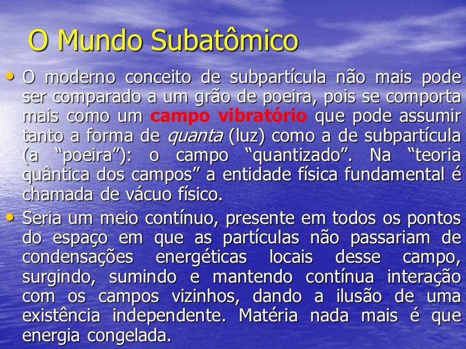O Mundo Subatômico O moderno conceito de subpartícula não mais pode ser comparado a um grão de poeira, pois se comporta mais como um que pode assumir