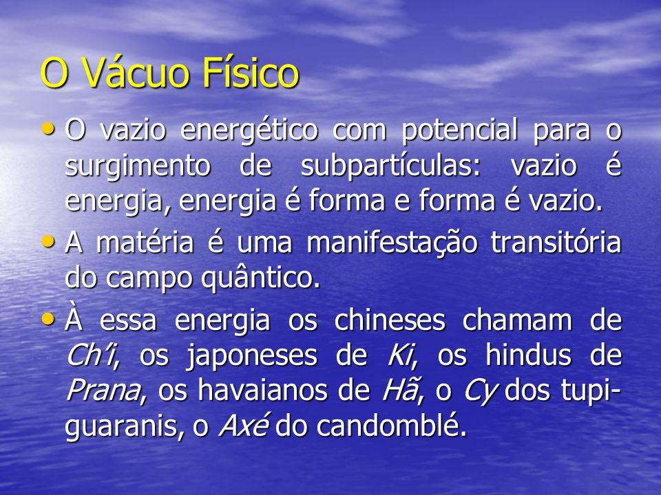 O Vácuo Físico O vazio energético com potencial para o surgimento de subpartículas: vazio é energia, energia é forma e forma é vazio. O vazio energéti