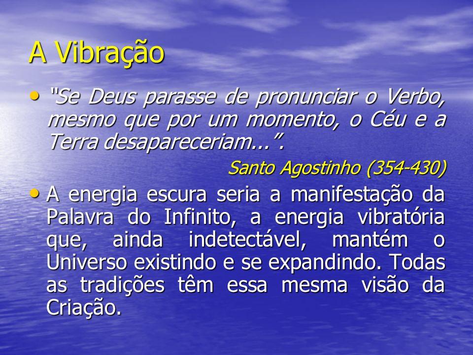 A Vibração Se Deus parasse de pronunciar o Verbo, mesmo que por um momento, o Céu e a Terra desapareceriam.... Se Deus parasse de pronunciar o Verbo,