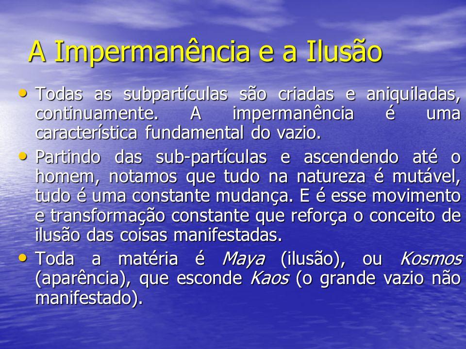 A Impermanência e a Ilusão Todas as subpartículas são criadas e aniquiladas, continuamente. A impermanência é uma característica fundamental do vazio.