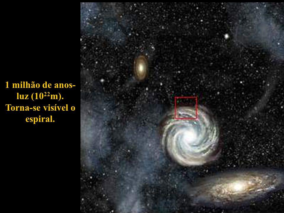 1 milhão de anos- luz (10 22 m). Torna-se visível o espiral.