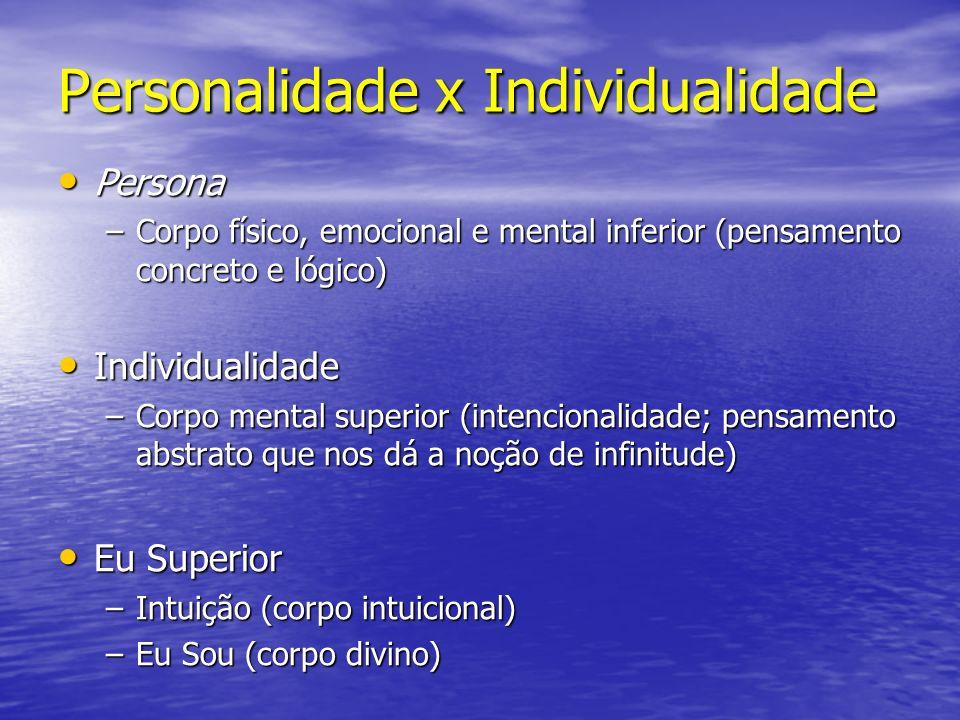 Personalidade x Individualidade Persona Persona –Corpo físico, emocional e mental inferior (pensamento concreto e lógico) Individualidade Individualid