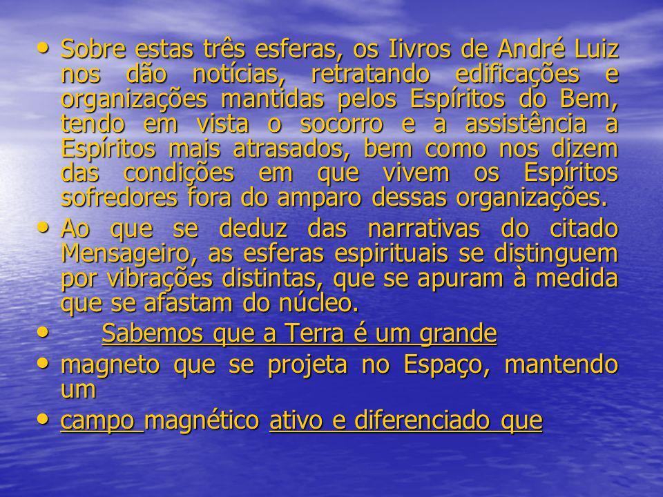 Sobre estas três esferas, os Iivros de André Luiz nos dão notícias, retratando edificações e organizações mantidas pelos Espíritos do Bem, tendo em vi