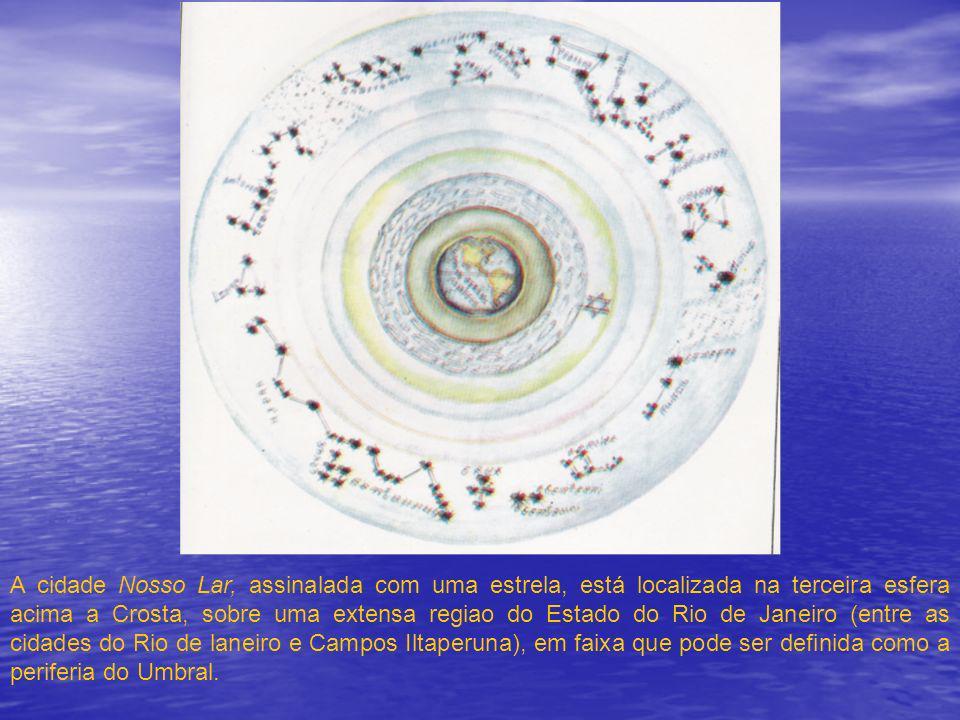 A cidade Nosso Lar, assinalada com uma estrela, está localizada na terceira esfera acima a Crosta, sobre uma extensa regiao do Estado do Rio de Janeir