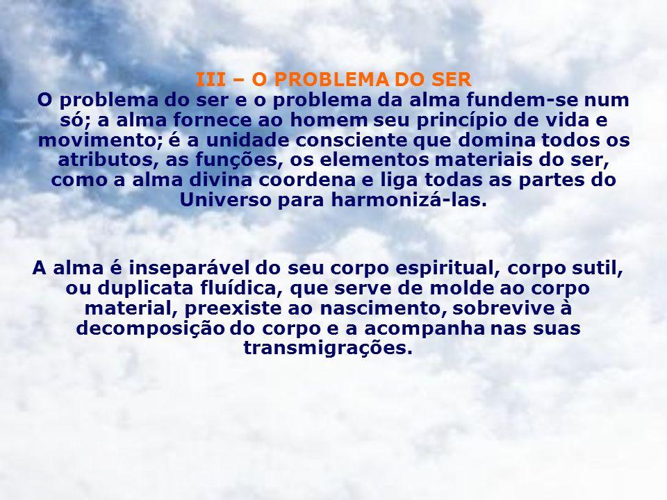 III – O PROBLEMA DO SER O problema do ser e o problema da alma fundem-se num só; a alma fornece ao homem seu princípio de vida e movimento; é a unidad